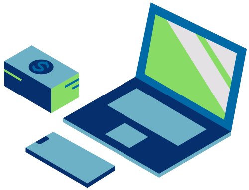 Laptop illustration with phone and money